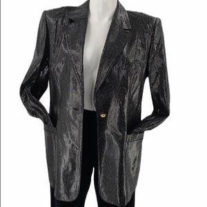 Escada leather snake print long jacket Sz 14 (44)